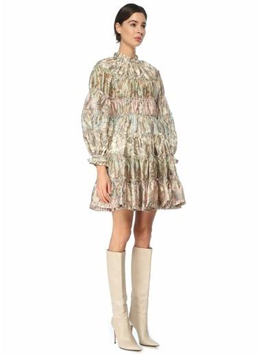 Zimmermann Zimmermann   Karışık Desenli Yün Mini Elbise 101544238 Renkli
